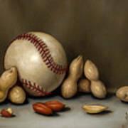Baseball And Penuts Art Print by Clinton Hobart