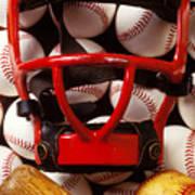 Baseball Catchers Mask And Balls Art Print by Garry Gay