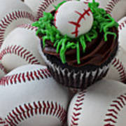 Baseball Cupcake Art Print by Garry Gay