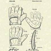 Baseball Glove 1910 Patent Art Art Print by Prior Art Design