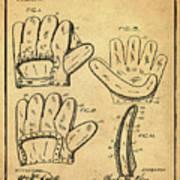 Baseball Glove Patent 1910 Sepia With Border Art Print