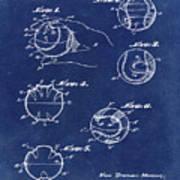 Baseball Training Device Patent 1961 Blue Art Print