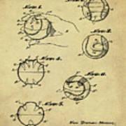 Baseball Training Device Patent 1961 Sepia Art Print