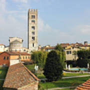 Basilica Di San Frediano With Palazzo Pfanner Gardens Art Print