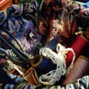 Basket Of Crocheting And Thread Art Print