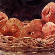 Basket Of Peaches Art Print