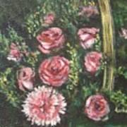 Basket Of Pink Flowers Art Print