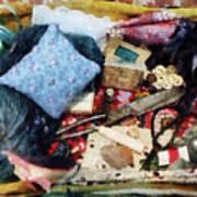 Basket Of Sewing Supplies Art Print