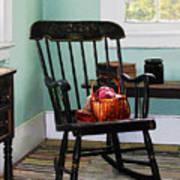 Basket Of Yarn On Rocking Chair Art Print by Susan Savad