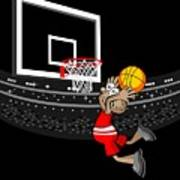 Basketball Player Jumping In The Stadium And Flying To Shoot The Ball In The Hoop Art Print