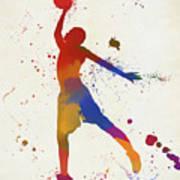 Basketball Player Paint Splatter Art Print