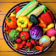Basketful Of Fresh Vegetables Art Print
