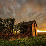 Basking In The Glow - Old Barn At Sunset In Oklahoma Panhandle Art Print
