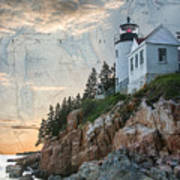 Bass Harbor Lighthouse On Maine Nautical Chart Art Print