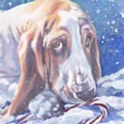 Basset Hound Christmas Art Print