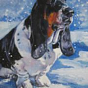 basset Hound in snow Art Print