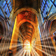 Bath Abbey Sun Rays Art Print