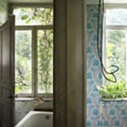 Bath Room Windows -urban Exploration Art Print
