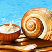 Bath Salts And Sea Shell By The Pool Art Print by Sandra Cunningham