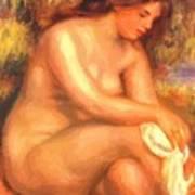 Bather Drying Her Leg Art Print