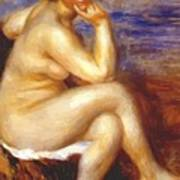 Bather With A Rock Art Print