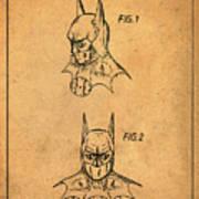 Batman Cowl Patent In Sepia Art Print