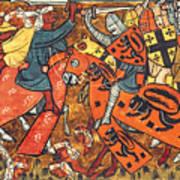 Battle Between Crusaders And Muslims Art Print