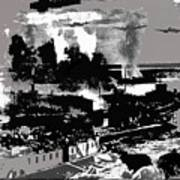 Battle Of Stalingrad Nazi Plane Crossing Volga River 1942 Art Print