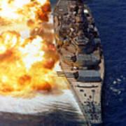 Battleship Uss Iowa Firing Its Mark 7 Art Print