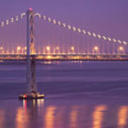 Bay Bridge At Dusk Art Print by Sean Duan