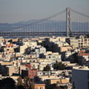 Bay Bridge With Houses And Hills Art Print