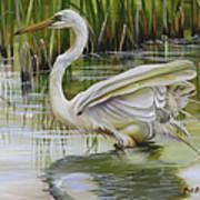 Bayou Caddy Great Egret Art Print
