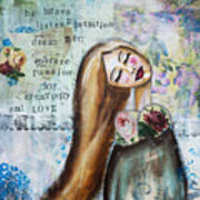 Be Brave Inspirational Mixed Media Folk Art Art Print