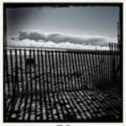 Beach And Fence Art Print