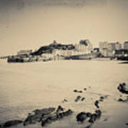 Beach And Harbour In Tenby Art Print
