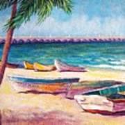 Beach At Progreso Art Print