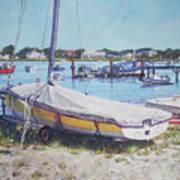 Beach Boat Under Cover Art Print