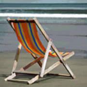 Beach Chair And Ocean Stripes Art Print