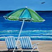 Beach Chair Bliss Print by Elizabeth Robinette Tyndall