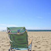Beach Chair On A Sandy Beach Art Print