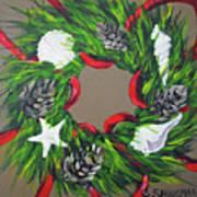 Beach Christmas Wreath Art Print