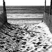 Beach Entry Black And White Art Print