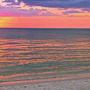 Beach Girl And Sunset Art Print