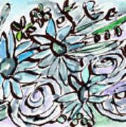 Beach Glass Flowers 2- Art By Linda Woods Art Print