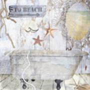 Beach House Bath Art Print