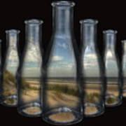 Beach In Bottles Art Print