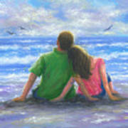 Beach Lovers Pink And Green Art Print