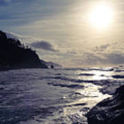 Beach - Oregon - Golden Sun Art Print