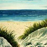 Beach Sand Dunes Acrylic Painting Art Print