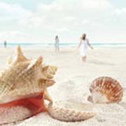 Beach Scene With People Walking And Seashells Art Print